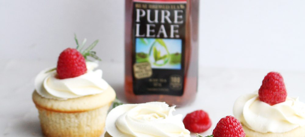 Raspberry Tea Cupcakes with White Chocolate Frosting
