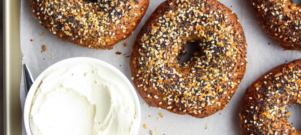 Whole Wheat Everything Bagels with Peppered Cream Cheese