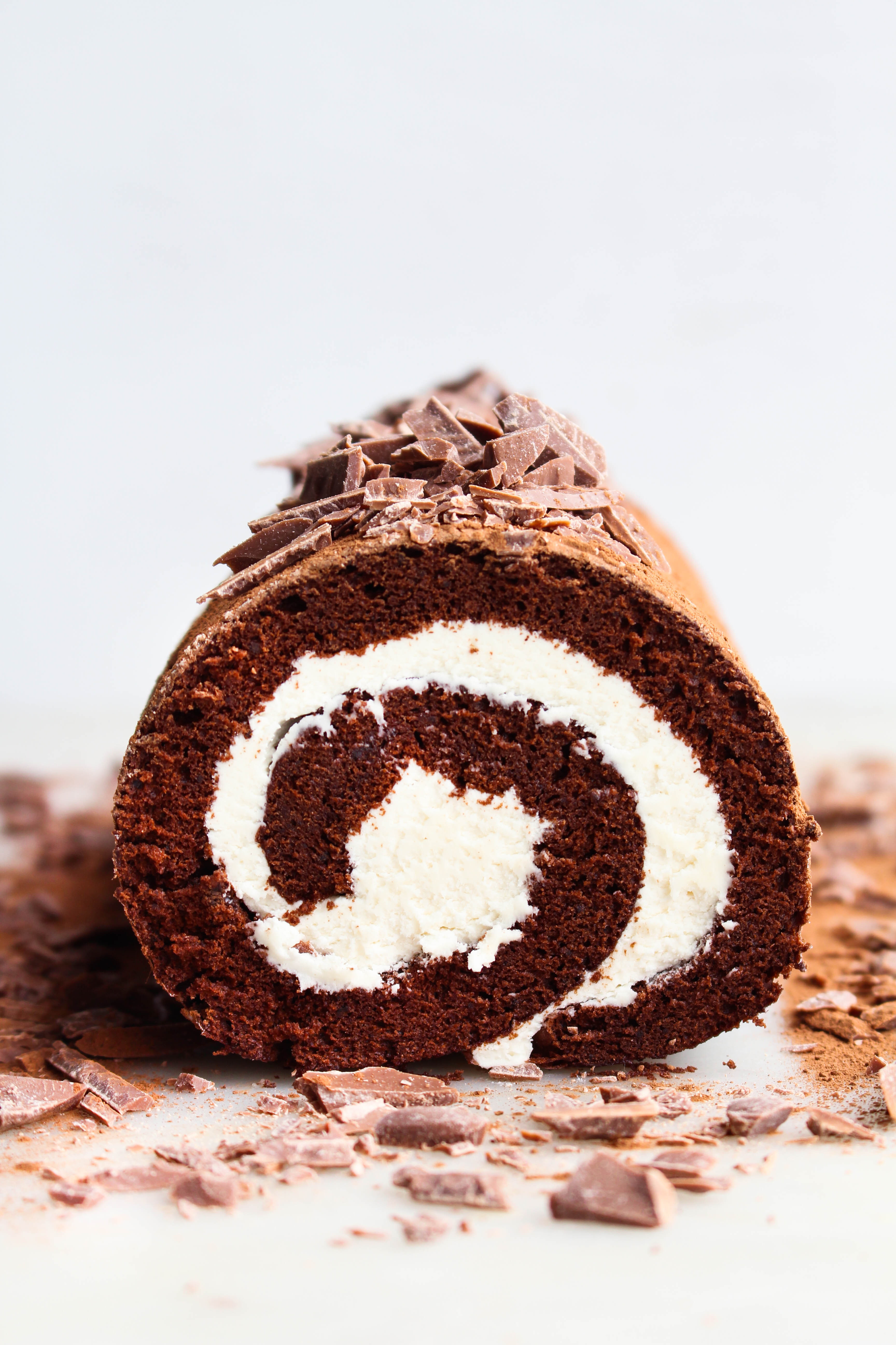 Chocolate Roll Cake with Marshmallow Fluff Filling - The Sweet and ...