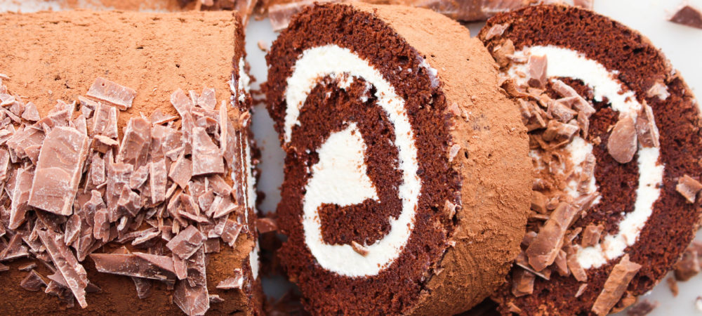 Chocolate Roll Cake with Marshmallow Fluff Filling